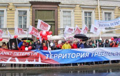 На демонстрации в Петербурге прошла «Трезвая колонна»